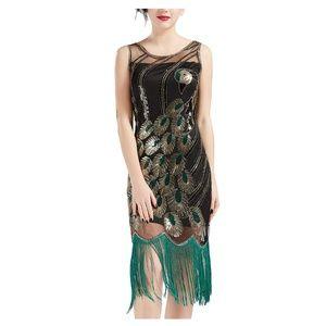 20's Vintage Peacock Sequin Fringed Flapper Dress